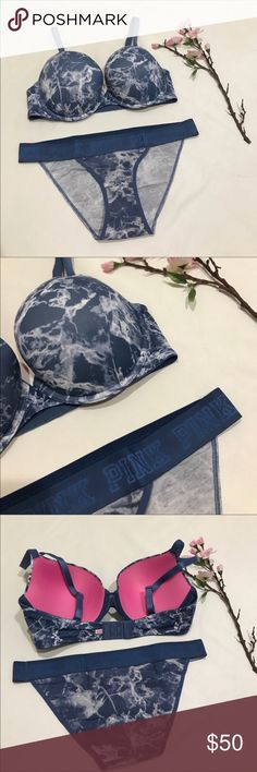 VS PINK push up bra and logo bikini panties 36C/ L New in a shipping package. Wear everywhere push up bra size 36C in blue marble print. Matching logo bikini size L PINK Victoria's Secret Intimates & Sleepwear Bras