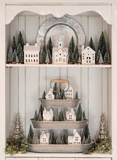A Winter Hutch with a Christmas Village in a Tiered Tray Christmas Time Is Here, Merry Little Christmas, Cozy Christmas, Christmas Ideas, Christmas Kitchen, Christmas Greetings, Christmas Gifts, Christmas Village Display, Christmas Villages