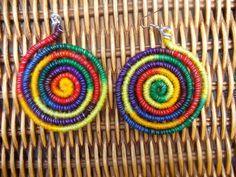 Rainbow Spiral Wire Wrap hippie psychedelic gypsy earrings. $12.00, via Etsy.