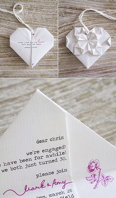 origami love note / wedding invitation