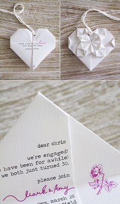 origami love note / wedding invitation