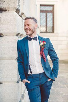 Vintage Inspired Groom in a Blue Suit, Bow Tie & Suspenders