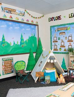 you are looking for a classic woodland look, or ready to jump into an adventure with Ranger Rick, this theme will help bring the great outdoors to your classroom. Your students will be happy campers with Ranger Rick and is adorable animal friends. Forest Theme Classroom, Elementary Classroom Themes, Kindergarten Themes, Toddler Classroom, Classroom Decor Themes, Outdoor Classroom, School Themes, Classroom Camping Theme, Classroom Ideas