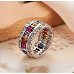 Elegant Rainbow Crystal Belt Fashion Band Ring - USD $63.95