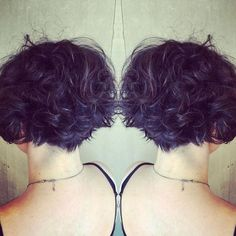 22 Hottest Graduated Bob Hairstyles Right Now - Hairstyles Weekly - Hottest Hairstyles for Women 2016 | Cute curly short hairstyles on deep-purple/black hair with dainty blonde highlights and stacked back
