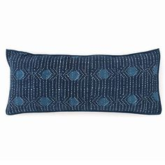 Inspired by traditional Indian kantha quilts, this cotton decorative pillow features a block-style print on an ink-colored background. Featherdown insert included.