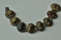 An Beautiful Antique Lava Cameo Bracelet by mitaineshop on Etsy Cameo Jewelry, Antique Jewellery, Lava, Cufflinks, Carving, Jewels, Antiques, Metal, Bracelets