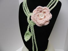 Flower necklace made with scented cotton yarn.