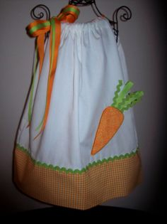 Easter Ribbon Top Carrot Pillowcase Dress Girls Infant Toddler Custom Boutique Spring Summer on Etsy, $28.00