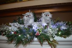 Lit Snowy Owls Lit Mantle swag Owl Swag by TheBloomingWreath Christmas Wreaths, Christmas Decorations, Christmas Tree, Holiday Decor, Mantle Piece, Battery Operated Lights, Gray Owl, Snowy Owl, Fireplace Mantle