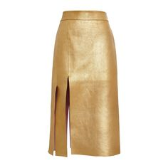 Nina Ricci Gold Bonded Gold Leather Skirt (17.130 BRL) ❤ liked on Polyvore featuring skirts, bottoms, real leather skirt, knee length leather skirt, brown high waisted skirt, high-waisted skirts and gold leather skirt