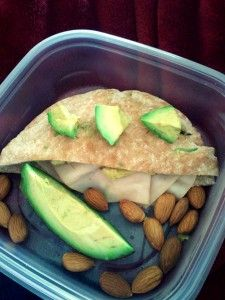 1 whole wheat with honey Pita pocket    I used avocado as a spread on the inside and filled it with 3 slices of turkey    I also at some extra avocado