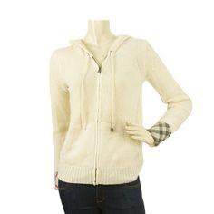 Burberry Brit Off White Nova Check Trim Zip Front Knit Cardigan Hooded Top sz-S
