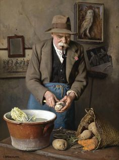 """Charles Spencelayh (British, """"Dig for Victory - The Wise Eat more Potatoes"""". oil on canvas, 58 x 43 cm. [NB The newspaper clipping on the wall of Hitler. I'm not sure that the potatoes would have been peeled.every scrap of food counted] . Dig For Victory, Arte Country, Illustration Art, Illustrations, Realistic Paintings, Beautiful Paintings, Painting & Drawing, Oil On Canvas, Art Gallery"""