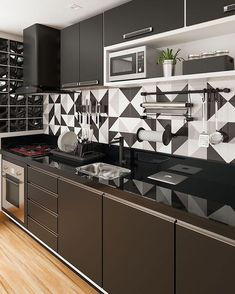 How To Incorporate Contemporary Style Kitchen Designs In Your Home Kitchen Room Design, Kitchen Cabinet Design, Home Decor Kitchen, Interior Design Kitchen, Home Kitchens, Kitchen Ideas, Kitchen Layout, Kitchen Modular, Modern Kitchen Cabinets