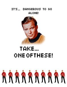 "A few year's ago at a #startrek convention, William Shatner announced his participation in a charity paintball game. He needed more people for his team and told us in his bombastic way, ""I need some RED SHIRTS who are willing to take one for their captain!"" Epic moment of awesomeness. #kirk"