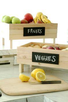 15 Smart DIY Fruit Storage Ideas for Better Kitchen Organization Diy Vegetable Storage Bin, Fruit Storage, Storage Containers, Furniture Plans, Wood Furniture, Building Furniture, Crate Storage, Storage Ideas, Crate Shelves