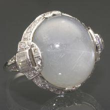 Art Deco Star Sapphire and Diamond Ring