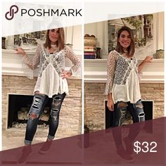 Stunning lace bell sleeve boho top! Beautiful cut and lace detail- flattering and delicate glow with a modern neckline- classic beauty! Tops