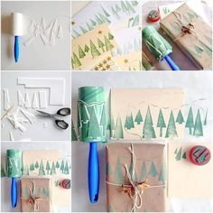 Christmas Tree Lint Roller Stamps diy christmas diy crafts do it yourself christmas tree christmas crafts christmas diy lint roller Diy Crafts For Gifts, Holiday Crafts, Crafts For Kids, Paper Crafts, Cork Crafts, Spring Crafts, Diy Paper, Paper Art, Diy Christmas Tree