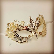 Laser Cut Venetian Mask Gold Masquerade Costume Ball Crystal Fancy Dress Prom