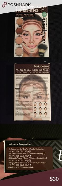 Bellàpierre Contouring and Highlighting kit! This kit has never been open! It still has the price tag on it. It has 4 different powders! There are instructions for every face shape on the back of the box! Makeup Bronzer