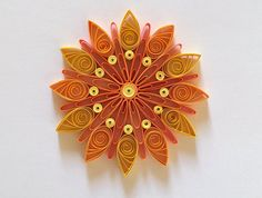 Snowflakes Yellow Orange Christmas Tree Decoration Winter Ornaments Gifts Toppers Fillers Office Corporate Paper Quilling Quilled Art This is unique handmade quilled snowflake. Amazing Christmas gift for Your loved ones and suitable for all winter occasions. You can hang it on