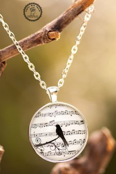 Bird Necklaces for Women - Music Note Necklace Jewelry - Gift Ideas for Women - Gifts for Music Lover Musician Her - Photo Jewelry Necklace