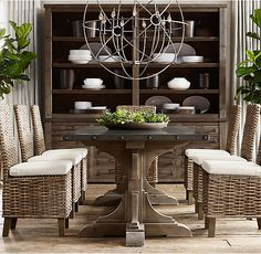 RH's 20th C. Reclaimed Pine & Zinc Trestle Rectangular Dining Table:Our reclaimed-pine table bears the construction and design hallmarks of the early 20th century, when fine craftsmanship and simple forms were sought and prized.