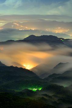 Foggy Night over Wu Fen Shan, Taiwan