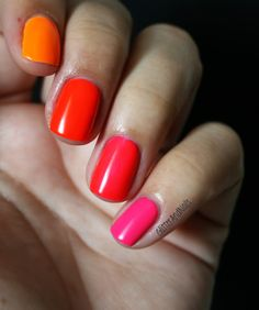 Essie Poppy Razzi all together. Love the new trend with different colored nails.