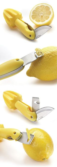 3-in-1 Lemon Knife & Zester | Great for Baking, Making Lemon-Infused Drinks, Cocktail & Garnishes! #kitchen #gadget