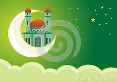 Illustration about Eid mubarak card with mosque on the moon with green background - cartoon design, beautiful view, pretty and funny. Illustration of concept, arabic, festival - 77047480 Eid Mubarak Background, Eid Mubarak Card, Islamic Cartoon, Natural Scenery, Cartoon Design, Mosques, Green Backgrounds, Ramadan, Cartoons