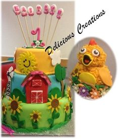Sprout CHICA 1st Birthday cake - by DeliciousCreations @ CakesDecor.com - cake decorating website