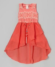 Another great find on #zulily! Coral Lace Hi-Low Dress & Necklace - Girls by Kidz WinC #zulilyfinds