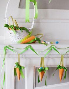Frühling Ostern-Dekoration Karotten-Papier basteln Girlande