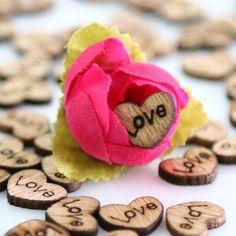 100pcs/lot Rustic Wooden Heart Shapes Embellishments, Craft Confetti & Table Wedding Decoration-DIY-GFT Woodcraft