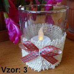 Svietnik sklenený s mašľou - Sviečka - S čajovou sviečkou LED (plus 1€), Vzor - Vzor 3