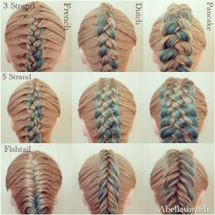 I finally got around to another photo collage! It's more like a grid this time. If you look at the horizontal rows, you will see three types of braids: 3 strand, 5 strand and fishtail. If you look at the vertical rows, you will see three more types of braids: French, Dutch and pancake. It took me a while to figure out how to lay this one out. How do you like it? braid
