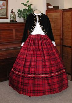 My favorite civil war dress.  I love the velvet jacket and plaid skirt.  This one is also a reproduction from an old daguerreotype.
