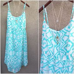 Plus size summer dress. Asymmetrical hem and lined. Beautiful teal color and elastic under the bust. FINAL SALE