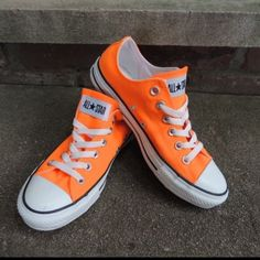 Neon Orange Converse Size 7 Like New Condition Worn Once Converse Shoes  Athletic Shoes