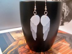 Angel Wing Recycled Milk Jug Earrings