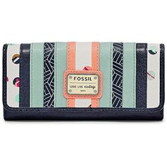 Fossil Emory 29 Clutch Sl6878403 Color: Blue Multi Wallet ($75) ❤ liked on Polyvore featuring bags, handbags, clutches, green handbag, green clutches, fossil clutches, lambskin purse and patchwork handbags