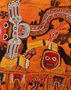 Whiskered men/deities hold decapitated heads on ancient Paracas textiles from Peru.  https://twitter.com/DrDonnaYates/status/528212249840988160