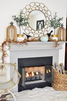 Love how the garland and sweet pumpkin add a playful twist to the symmetry of Fall Table, Thanksgiving Table, Fireplace Design, Rustic Table, Autumn Inspiration, Home Goods, Dining Table, Home Decor, Garland