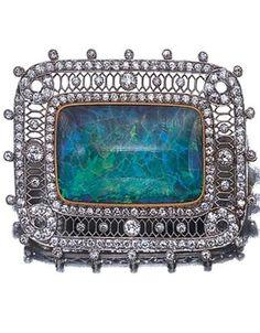 Edwardian Black Opal and Diamond Brooch.
