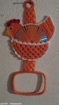 Art: Porta Pano de Prato, em crochê - Galinha: Passo a Passo Crochet Mandala Pattern, Crochet Flower Patterns, Crochet Chart, Crochet Designs, Crochet Doilies, Cd Crafts, Handmade Crafts, Crafts To Make, Crochet Towel Holders