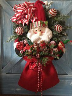 Door wreaths diy burlap ideas for 2020 Christmas Sewing, Christmas Door, Country Christmas, All Things Christmas, Christmas Holidays, Christmas Crafts, Christmas Decorations, Christmas Ornaments, Holiday Decor