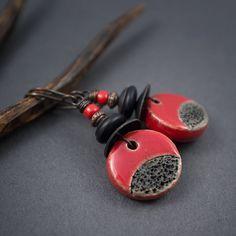 red raku earrings • artisan ceramic • tribal earrings • textured black • oxidized copper • rustic earrings • ceramic disc pendant • aged